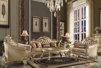 Vendome Victorian 2pc Leather & Velvet Living Room Sofa Set in Baroque Gold