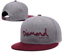 Men's Diamond Supply Co Snapback STYLE Adjustable Baseball Cap Hip hop Gray Hat