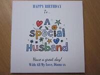 Personalised Handmade Birthday Card - Husband - 40th, 50th, 60th, 65th, Any Age