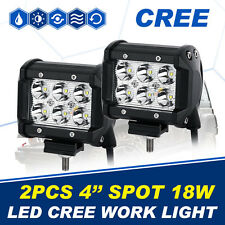 "PAIR 18W CREE 4""INCH LED LIGHT BAR SPOT BEAM OFFROAD WORK LAMP JEEP SUV TRUCK"