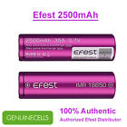 2x Purple Efest 18650 2500mAh 35A IMR High Drain Rechargeable Battery - FLAT TOP