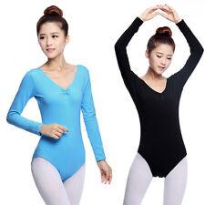 Women Dancewear Leotard Long Sleeve  Ballet Dance Gymnastics Bodysuit Adult