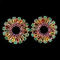 Pear Sapphire Multi-Color 5x3mm Emerald Rhodolite 925 Sterling Silver Earrings