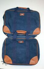LL Bean Vintage Blue Canvas Leather Trim Duffel Travel Garment Bag Large 2 bags