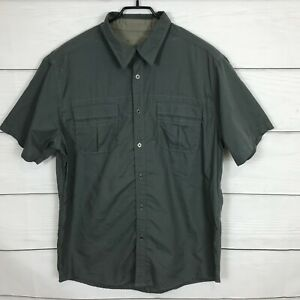 Kuhl Mens Large L Outdoor Shirt Short Sleeve Eluxur Button Up Hiking Green Gray