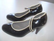 JIGSAW BLACK Patent Leather High Heel Button Close Mary Jane Sz 6.5 U.S. 37 U.K.