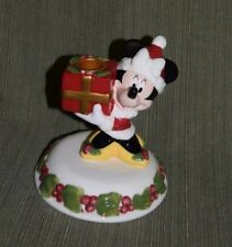 Disney Christmas Minnie Mouse Mrs. Claus Holding Gift Ceramic Candle Holder 6""