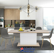 Modern Kitchen Extendable Dining Table 4-8P Seaters Wooden Oak White Beech Top