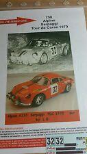 DECALS 1/24 REF 758 ALPINE RENAULT A110 SERPAGGI TOUR DE CORSE 1970 RALLYE RALLY