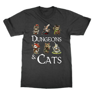 Dungeons and Cats t-shirt funny nerd tee dragons DnD RPG top DM GM present gift