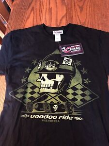 RARE NASCAR NWT Voodoo Ride Adult Small T-Shirt Black and  Green with Skull