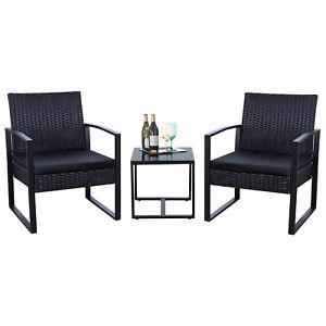3Pcs Outdoor Wicker Patio Furniture PE Rattan Chairs Conversation Set With Table