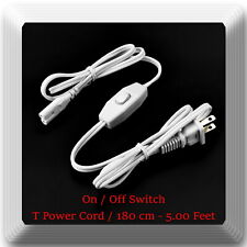 Power Cord With On/Off switch for T Light Model UV Light  58in / 4.83ft / 180cm