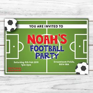10 *PERSONALISED* invitations FOOTBALL party soccer BIRTHDAY invites ENVELOPES