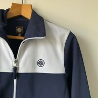 Mens Pretty Green Jacket Size Small Blue & White Track Bomber Casual Lightweight