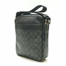 Coach F54788 CB/BK Charcoal Signature Logo Flight Bag Coated Canvas Traveler NEW