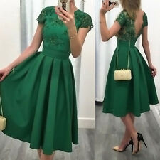 Women Short Sleeve Lace Mini Dress Evening Party Cocktail Bridesmaid Prom Gown