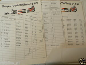 1977 F750 FIM MOTO RACE ASSEN PRESS INFO F1 LUCCHINELLI,MATIKAINEN,BUTENUTH,AGO