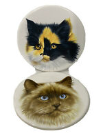"""Cat Trivets by Hyalyn Porcelain Cork Backing Wall Hanger 6"""" Persian Calico"""