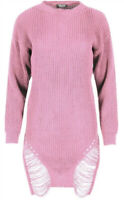 Dusky Pink Size 10-14 Distressed Knit Jumper Knitted Long Sleeve Dress DT63  New
