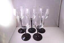 Vintage Luminarc France 2 Veronese & 3 Domino Black Stem Wine Glasses