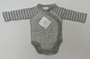 Hanna Andersson Long Sleeve Bodysuit Newborn Baby Grey/White Stripes 46079