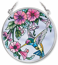 "Hummingbird Pink Flowers Sun Catcher AMIA Hand Crafted Glass 3.5"" New Round"