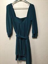 Womens Evening Dress Size Small Teal Green Button Cuffs Waist Tie Arden B. 206