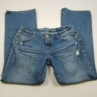 American Eagle Favorite Boyfriend Jeans Womens Size 10 Distressed Whiskers Blue