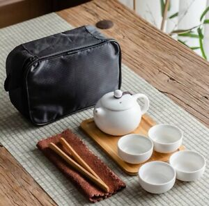 Gongfu Tea Pot Set 1 Pot+ 4 Cups + Carry Bag + Tea Towel + Tong + Tea Tray