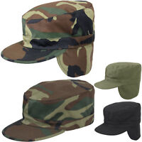 Winter Military Fatigue Hat with Ear Flaps Fitted, Camo Tactical Warm Patrol Cap
