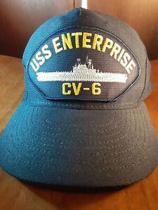 USS Enterprise CV-6 U.S Navy Ship Hat U.S Military Ball Cap Navy Made In USA