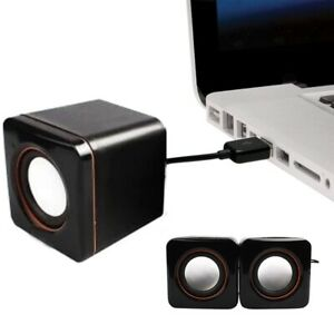Square USB Power Wired Computer Speaker Stereo 3.5mm Jack For Desktop PC  US