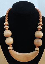 """Chunky Wooden Half Moon Center Beaded 19"""" Necklace"""