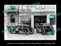 OLD LARGE HISTORIC PHOTO CHRISTCHURCH NEW ZEALAND RANGER CAR DEALERSHIP c1920