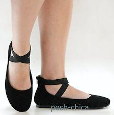 New Women WAd Black Criss Cross Mary Jane Ballet  Ballerina Flats size 5 to 10