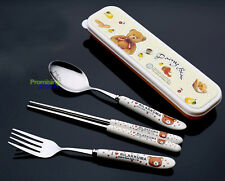 Rilakkuma 3-piece Ceramic Stainless Steel Flatware  Set Fork Scoop Chopsticks
