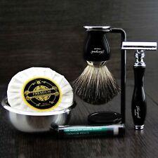 Ready to Use 6 Piece Men's Shaving Set ft DE Safety & Pure Black Badger Brush