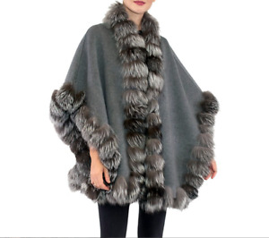 BELLE FARE Dyed Fox Fur-Trim Wool Cape  One Size $ 1235 NWT