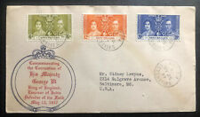 1937 Victoria Seychelles First Day Cover King George VI Coronation KGVI To USA