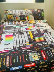 Retro VHS Videos Cassettes Tapes Atari Game 80s 90s Handmade Duvet Set Bedding