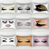 Eyelash Pillow Case Cotton Linen Sofa Throw Cushion Cover Home Decor