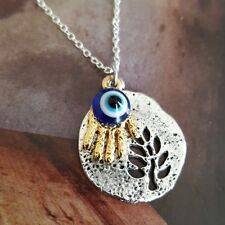 Gold Hamsa Hand Medallion Tree of Life Evil Eye Silver Necklace Protection