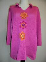 THE QUACKER FACTORY Pink Decorated 3/4 Sleeve V-Neck Sweater Top Sz. XL