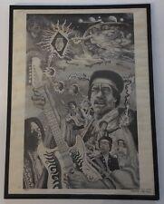 Vintage Poster Jimi Hendrix Psychedelic collage  Black & White 1970s Beardsley