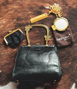 JUDITH LEIBER Rare karung SNAKESKIN Black Star Crystal Evening Bag w/Mirror,comb