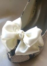 Ivory Shoe Clips Satin Bows for Bridal Shoes Shoe Clips Burlesque Pinup Vintage