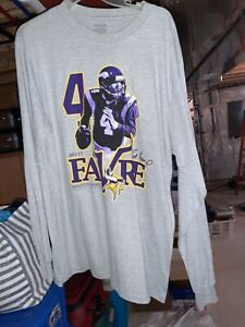 NWOT Reebok NFL Minnesota Vikings Brett Favre Mens LONG SLEEVE shirt grey  L