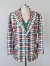 Vtg 70s Preppy Madras Cotton Plaid 2-Pc Blazer Jacket Reversible Vest Suit 40