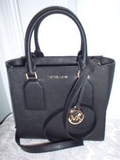 NWT Michael Kors Selby Medium Leather Black Messenger Satchel Handbag